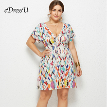2019 Women Summer Print Dress Plus Size Sexy V Cut Short Sleeves Holiday Beach Wear Casual Daily eDressU LMT-6021