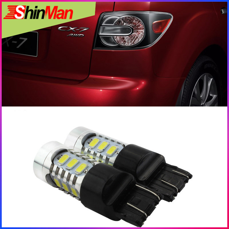 ShinMan High-Power 7443 Dual Circuit 7444 <font><b>W21</b></font> <font><b>5W</b></font> CAR LED Brake Lights StopTail lamp Rear Parking light For MAZDA CX-7 2009-2015 image