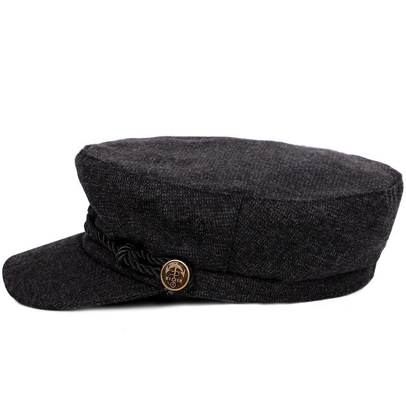 2018 nueva moda Color sólido gorra militar rayas Newsboy sombrero hombre  mujer Otoño Invierno sombrero plano Vintage algodón marinero hueso en  Sombreros ... 566aed990e9