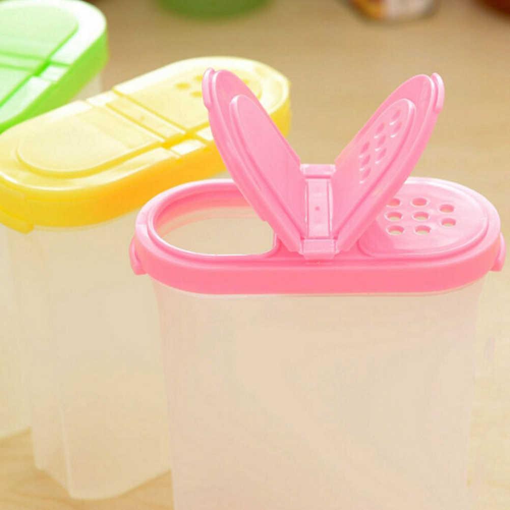 المطبخ التوابل الحاويات potes التوابل صناديق وعاء السكر البلاستيك غطاء مزدوج أدوات الطبخ أدوات المطبخ 10.5x4.8x11.5 سنتيمتر