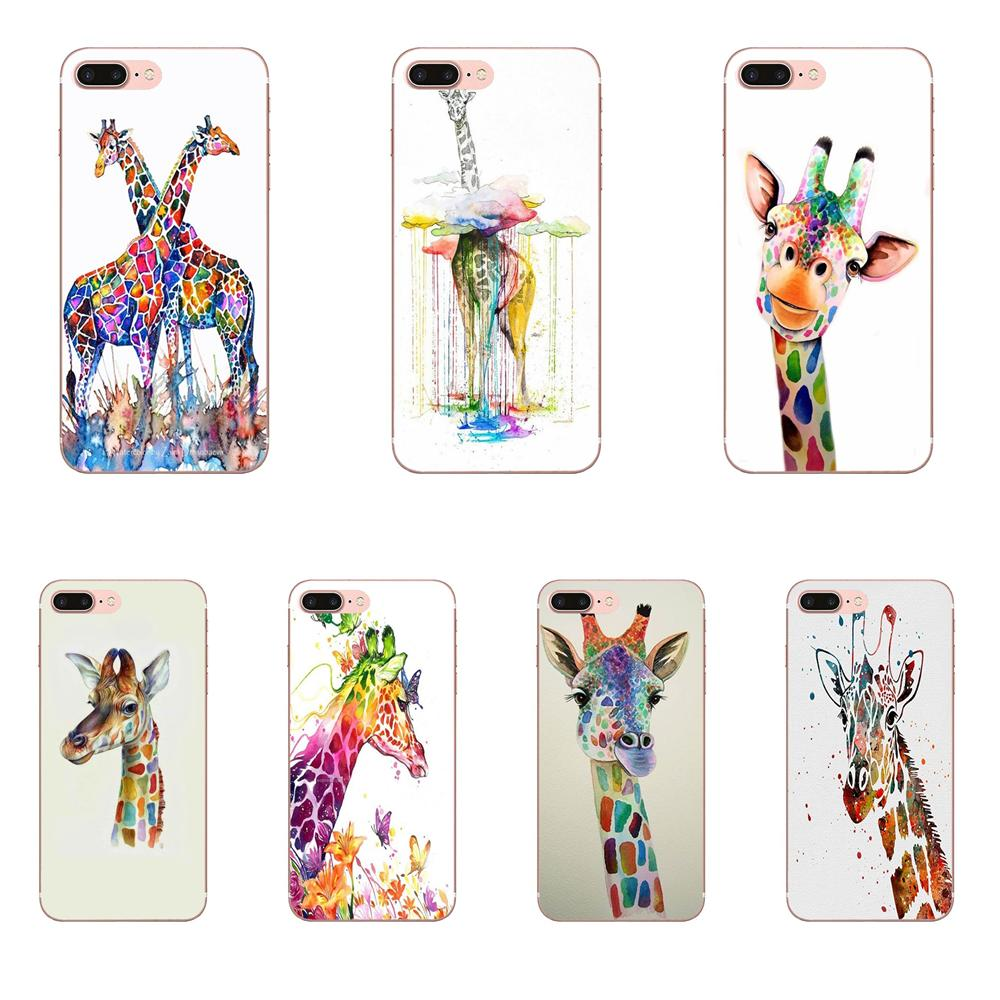 Watercolor Giraffe Friendship Soft Cell Case For Galaxy J1 J2 J3 J330 J4 <font><b>J5</b></font> J6 J7 J730 J8 2015 2016 2017 2018 mini Pro image