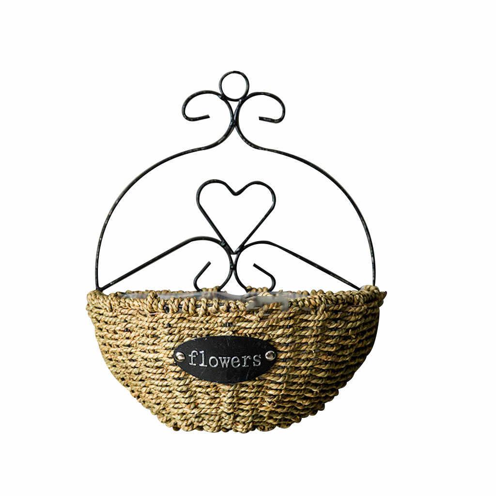 Ручная работа Плетеный цветок в горшке из ротанга корзина бамбуковый зеленый Вазы Горшок подвесной для растений ваза контейнер настенный домашний декор