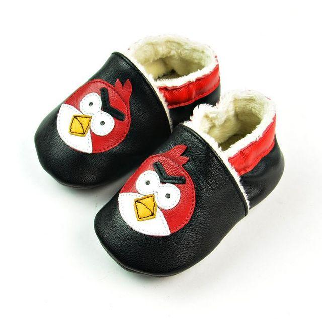 2017 de Invierno cálido Cuero Genuino Mocasines Bebé Modelo Del pájaro Caliente bebé Niño Zapatos primero walker zapatos de bebé únicos discos negro
