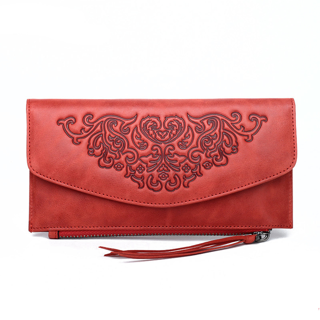 Top Quality Embossed Women Purse Day Clutch Handy Bag Chinese Style Multi-Cards Clip Zipper 100% Genuine Leather Long Wallet
