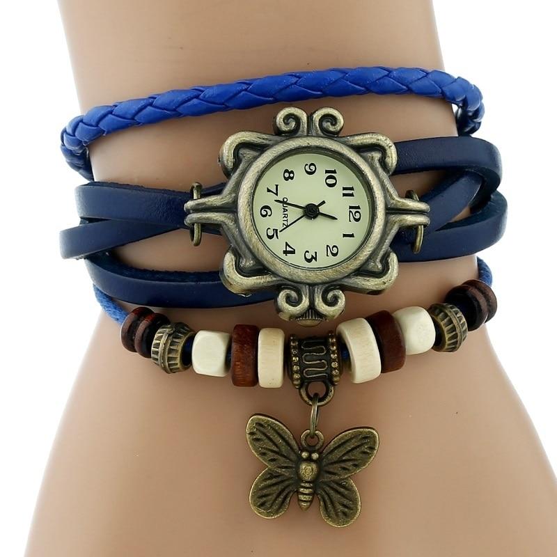 Gnova платины Кожаный Браслет Бабочка Леди Винтаж наручные часы мятно-зеленый розовый фиолетовый Этническая мода A887 - Цвет: Синий