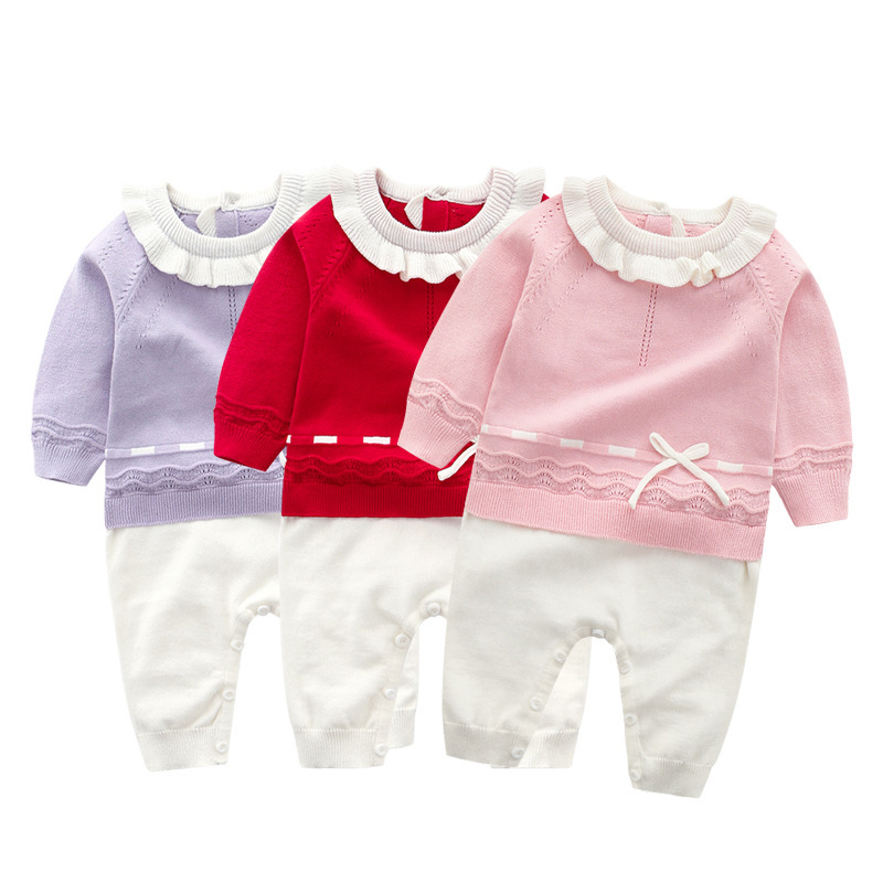 Winter 2018 Newborn Baby Girls Knitted Romper Clothes Autumn Tiny Cottons Toddler Overalls Long Sleeve Infant Children Jumpsuits db7191 dave bella summer baby girls newborn infant toddler jumpsuits children short sleeve printing clothing baby romper