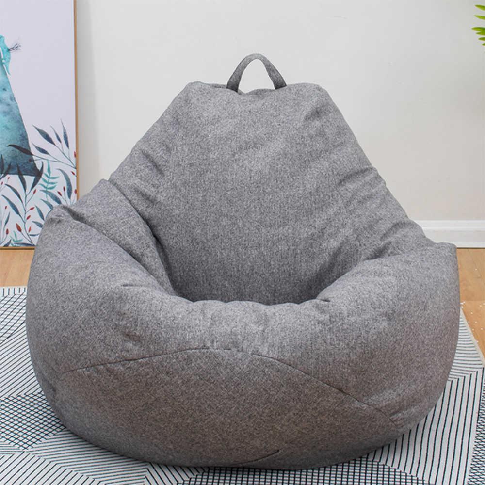 Grande Pequeno Preguiçoso Sofás Cobrir Cadeiras sem Enchimento Pano de Linho Sopro Assento Do Saco De Feijão Pufe Espreguiçadeira Sofá Tatami Sala de estar