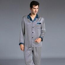 Новое поступление модные Для мужчин шелковые пижамы Комплект пижамный комплект мужской с длинными рукавами пижамы мягкие уютные для сна комплект одежды для дома