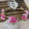 Mulher Handmade Tecido Flor Rosa Coroas de Casamento Nupcial Da Dama de Honra Acessório de Cabelo Coroa de Flores, Meninas do partido Guirlanda
