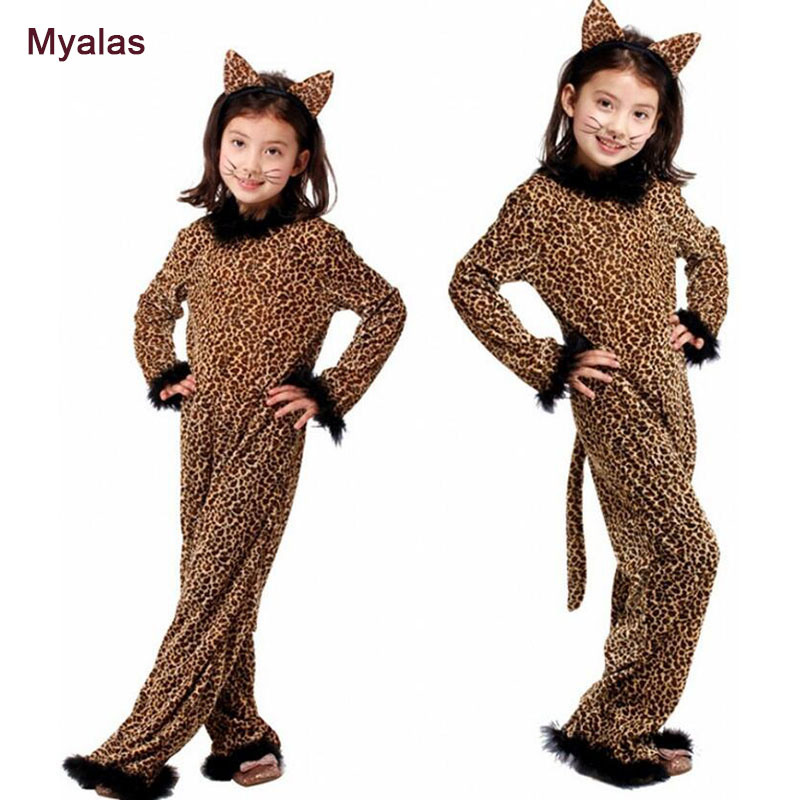 Girls Halloween Party Leopard Kids Cosplay Costumes Children Spandex Jumpsuits Anime Animal Costume Full body Suit For Girl