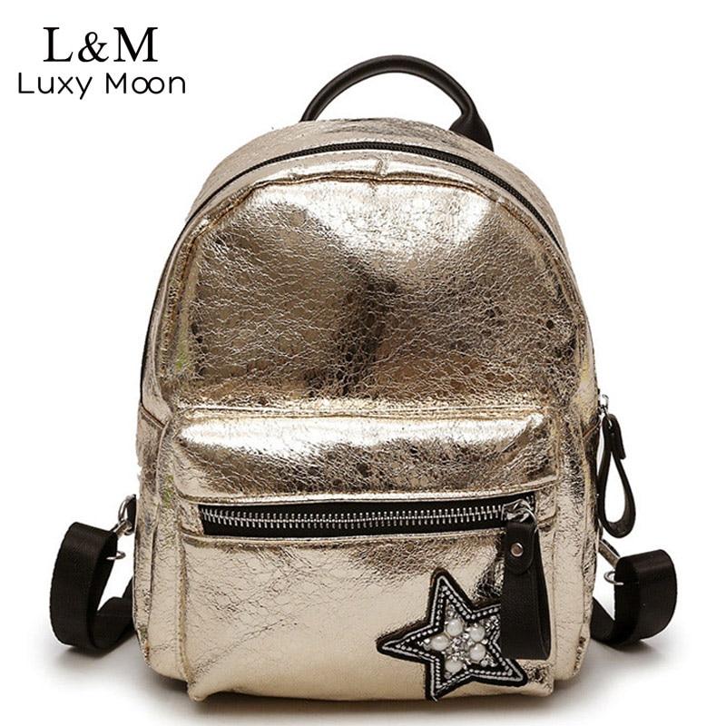 Luxy moon Gold Small Backpack Women Fashion Bag 2018 Hot Crack Backpacks Female Girls Rucksack Solid Travel Bags mochila XA431H