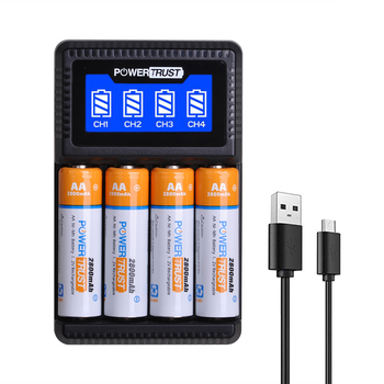 AA AAA NiMH Rechargeable Battery and Charger with LCD Display for aa aaa Calculator, MP3 Player, electric toys Batteries