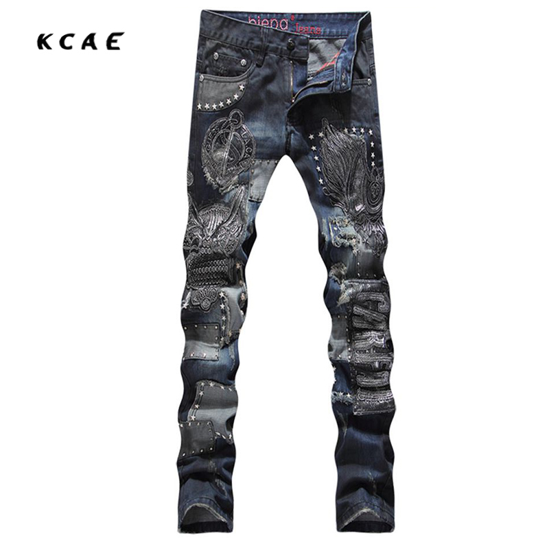 New Punk Rivets Embroidered Jeans Designer Men Jeans Slim Fit Mens Printed Jeans Biker Denim Pants newest obdmate om520 lcd obd2 eodb car diagnostic scanner obdii interface om520 obd 2 ii auto diagnostic tool scanner