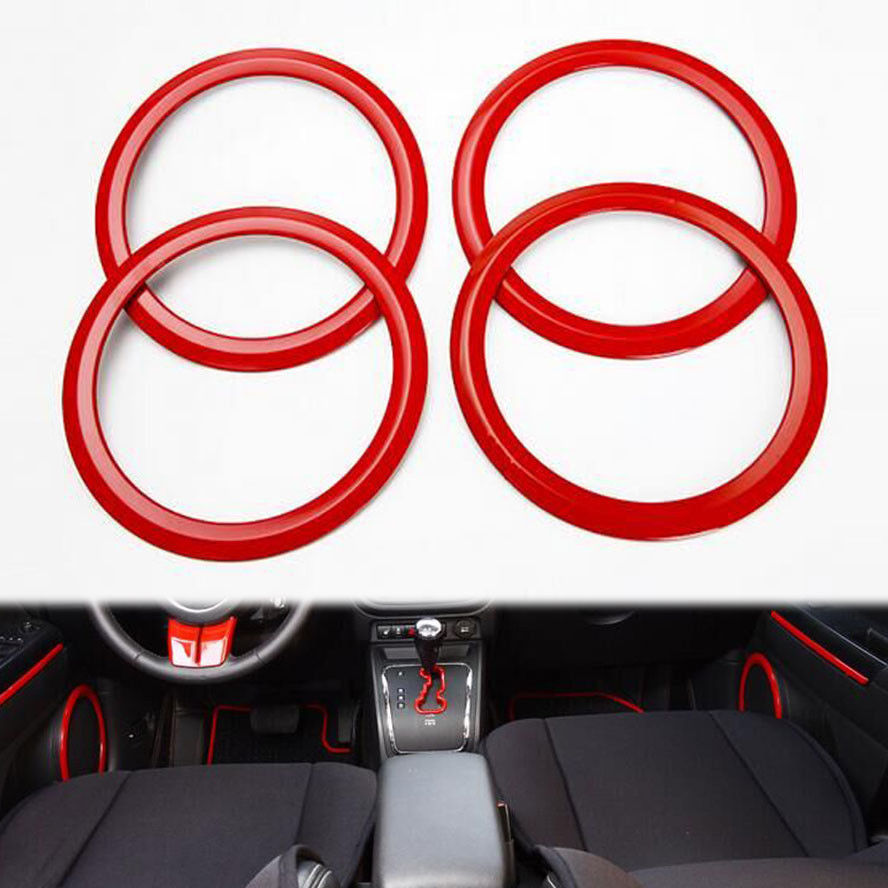 4x Stainless Red Car Door Speaker Audio Sound Decoration Frame Cover Trim Ring Sticker Fit For Jeep Patriot Compass Accessories