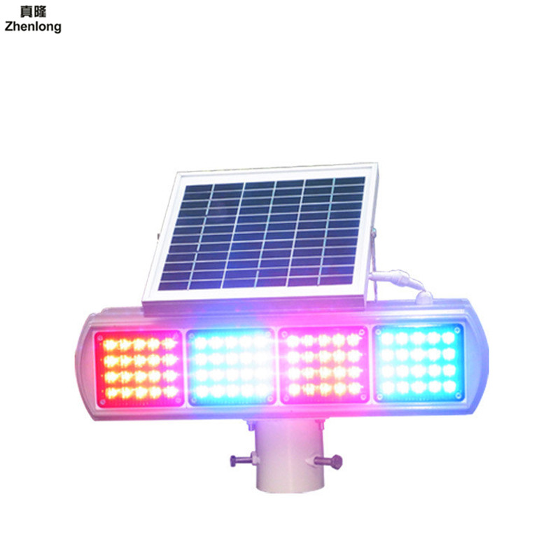 Solar Flashing Lights Double sided 4 Groups Strobe Light Traffic Warning Light Traffic Alert Led Highway Signal Lamp Red Blue