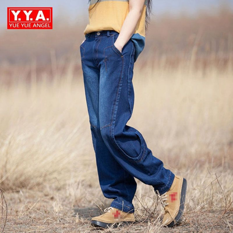 Women Bloomers Pants Female Trousers Plus Size Loose Fit Wide Leg Pants High Waist Casual Jeans Vintage New Fashion Pantolon plus size casual loose wide leg pants summer new women s boyfriend spliced holes blue jeans high waist ankle length trousers