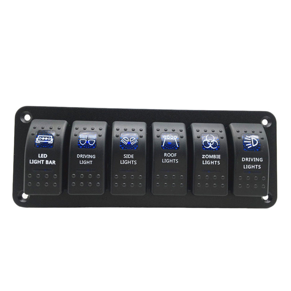 DC 12V/20A / 24V/10A Waterproof 6 Gang 2 LED Light Rocker Switch Panel Circuit Breaker 12V boat marine Lighter Blue Switch Panel 24v 12v red blue led boat switch panel switches waterproof car cigarette lighter socket rv yacht marine boating accessories