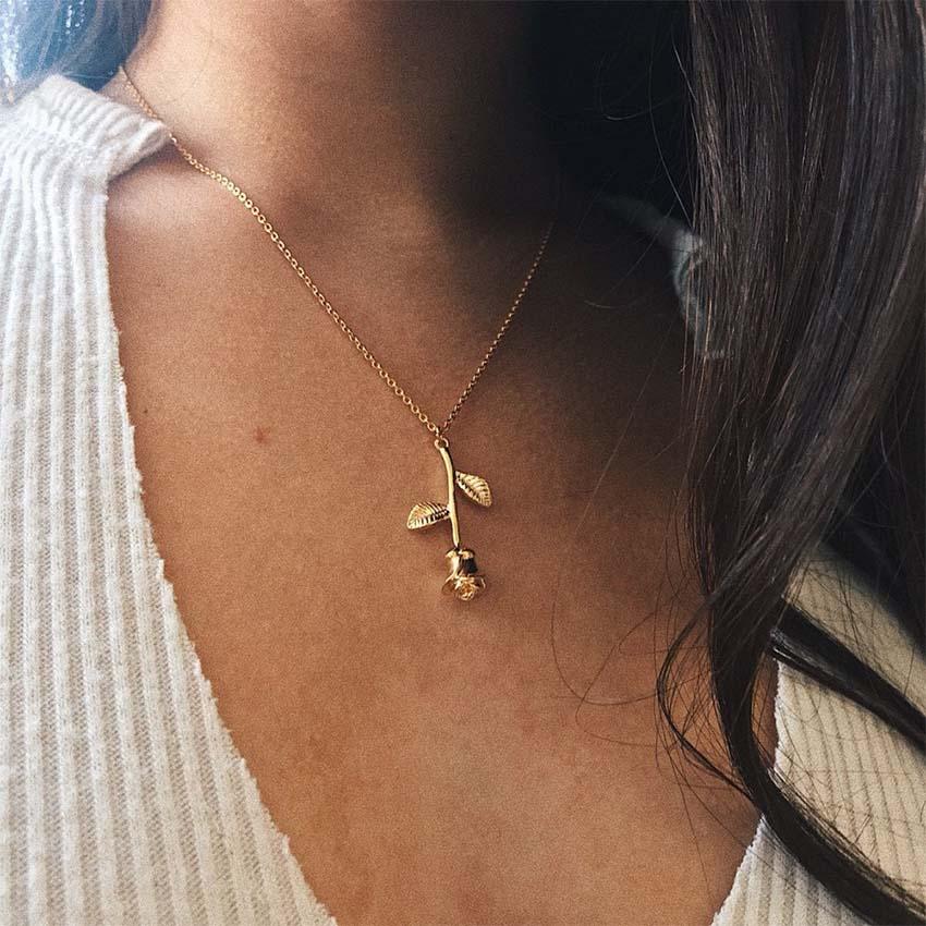 2017 Neue Frauen Rose Blume Goldkette Choker Halskette Geschenk Halsband Schmuck Collana Bijoux Femme Joyas Mujer Collier Ras Du Cou