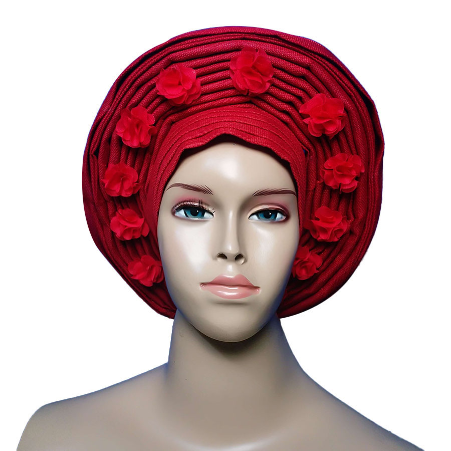 Free shipping Auto gele headtie Already Made Head Wrap Ladies Hat With flower african women headtie
