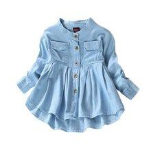 Denim Girl Blouses Clothing Autumn Baby Girls Jeans Shirts New Solid Jean Children Kids Long Sleeve Mandarin Collar Fashion Full