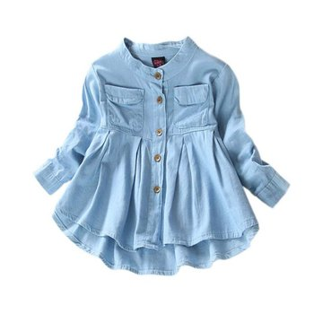 Denim Girl Blouses Clothing Autumn Baby Girls Jeans Shirts New Solid Jean Children Kids Long Sleeve Mandarin Collar Fashion Full spring fall teenager long sleeve shirts fashion 2019 kids girls plaid blouses cotton lace tops for baby girl children clothing