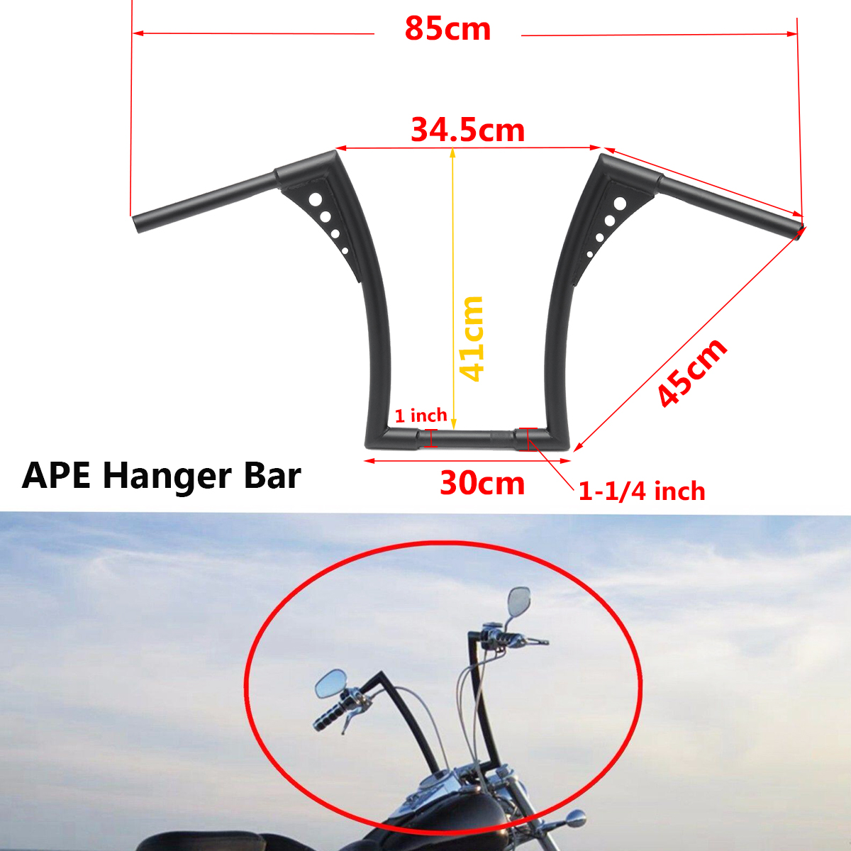 Black 14 Rise Ape Hangers bike Handlebar for Harley Softail FLST FXST Sportster XL Motorcycle Accessories Parts Handlebar