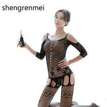 146cceafcb3 Shengrenmei 2019 Sexy Cloths Black Lingerie Star Pattern Bodysuit Charm Net  Sleepwear Fashion Teddies for Women Lady