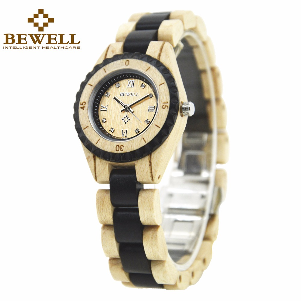 BEWELL Wooden Watches Ladies Watch Women Dress Watch Small Dial with Push Button Hidden Clasp relogio feminino 128AL очки солнцезащитные versace versace ve110dwhgg40