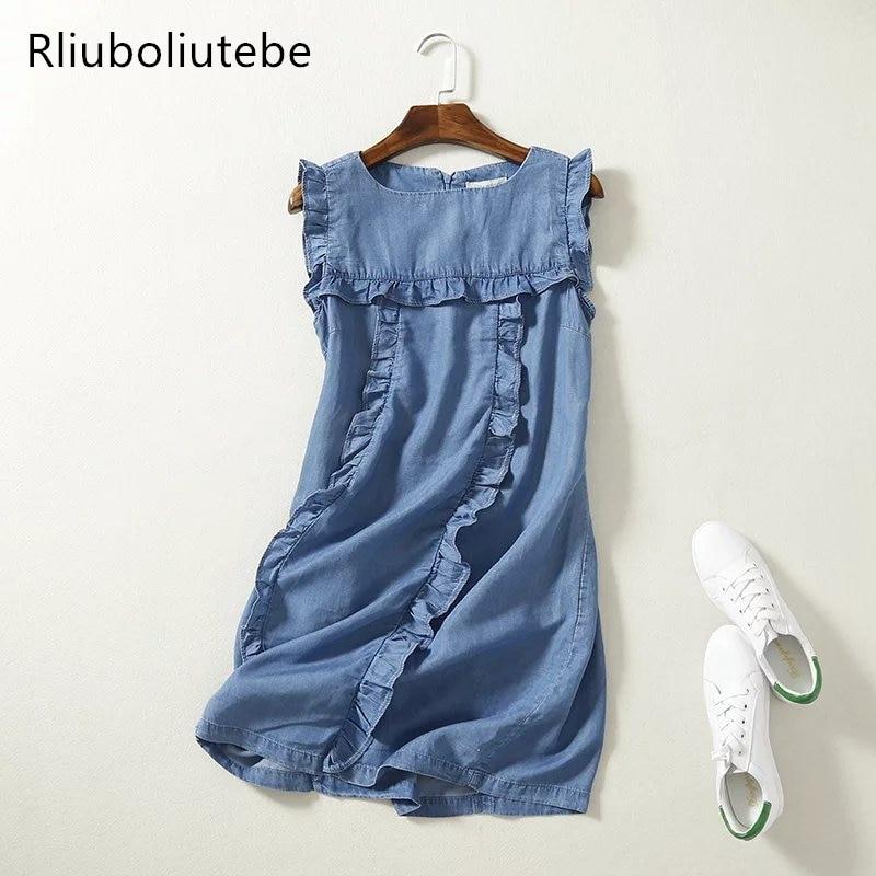 High Waist Sleeveless Mini Soft Jeans Dress Frilled Women Ruffles Casual Summer Sundress Short Denim Beach Dress Cotton