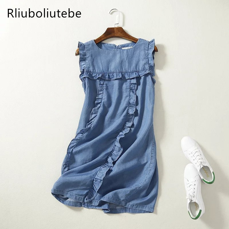 high waist sleeveless mini soft jeans dress frilled women ruffles casual summer sundress short denim beach dress cotton