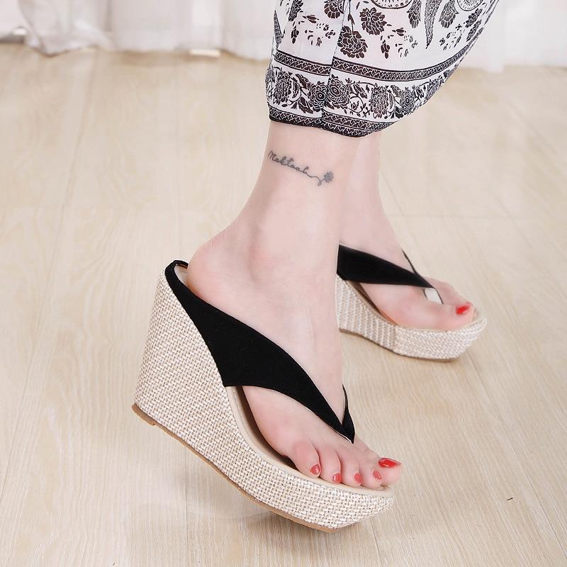 b2601a9dc64 Women s Shoes Summer Women Flip Flops Beach Slippers High Heels Shoes Wedge  Platform Sandals