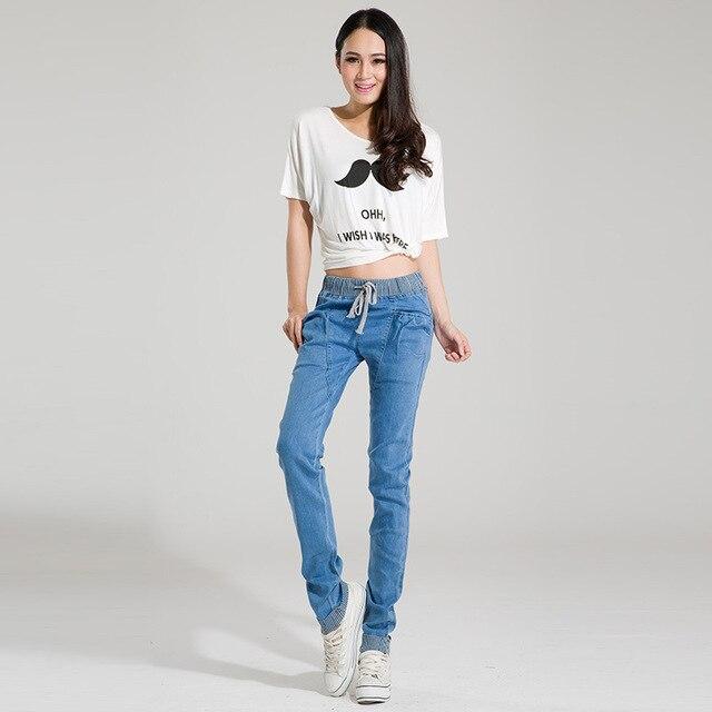 2016 new brand female casual slim jeans, women's elastic mid waist fashion cotton jeans plus size denim harem pants for woman