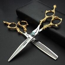 top grade KASHO dragon sapphire hair scissors 6 inch professional barber hairdressing cutting shears tijera peluquero