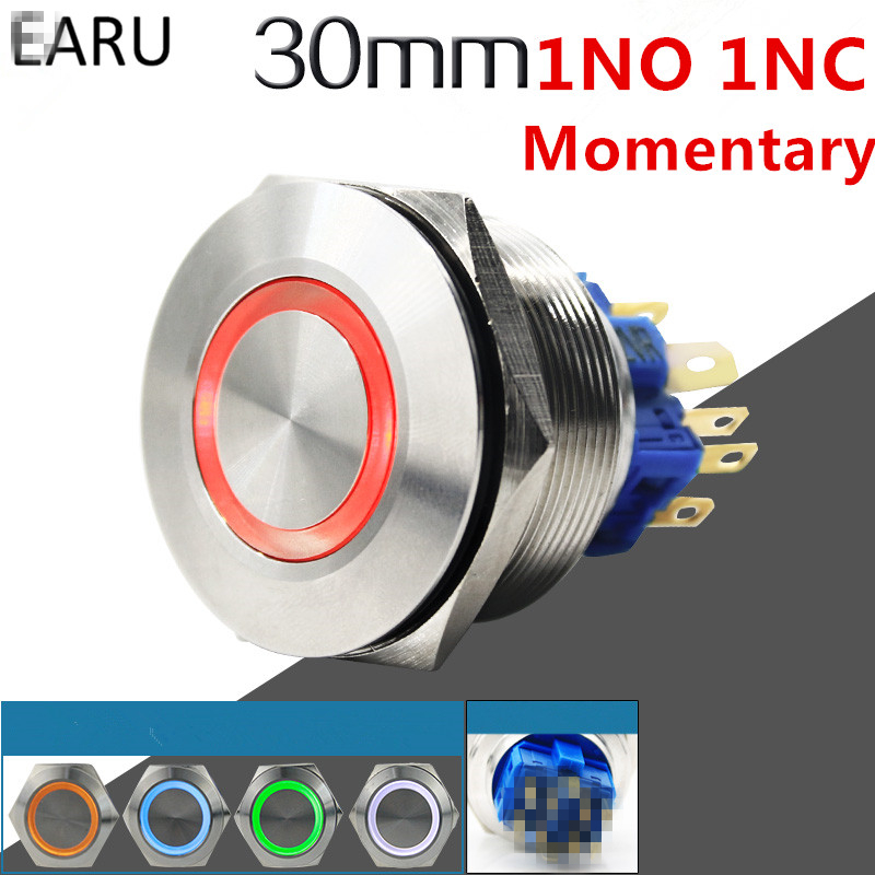 1pc 30mm 1NO 1NC Metal Stainless Steel Waterproof Momentary Doorebll Horn LED Push Button Switch Car Auto Engine Start PC Power 5pcs 12mm 3v blue led metal momentary 4pin mini push button switch 1no 2a 250vac