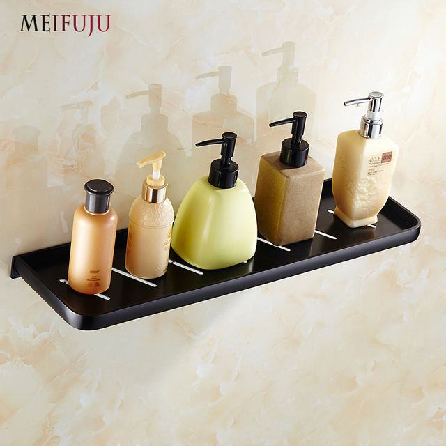 MEIFUJU Aluminum Alloy Black Bathroom Shelves cosmetic rack bathroom ...