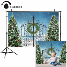 Allenjoy photography background Winter Christmas Snowfall tree iron fence wreath backdrops photobooth photocall shoot props new
