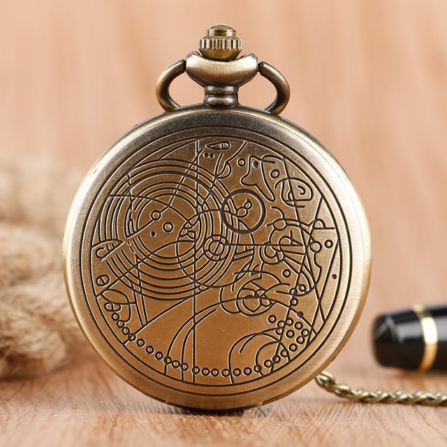 Vintage Retro Bronze Doctor Who Case Full Hunter Pocket Watch with Necklace Chai