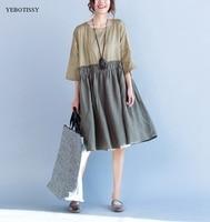 De gran tamaño algodón de lino vestidos de verano 2017 la mitad de la manga señoras de la manera tamaño grande Nuevo Vestido Vestidos femeninos vestido De Lino Chino