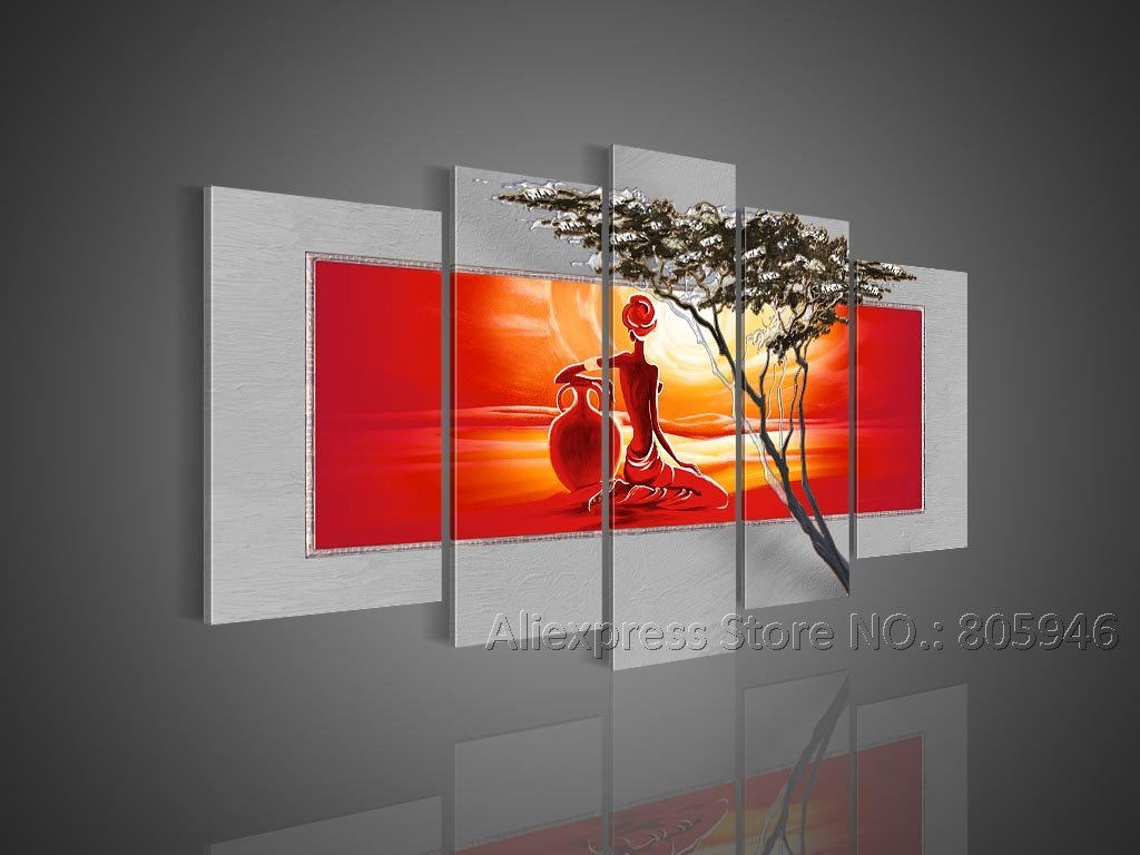 Hand painted large african art modern wall decor landscape Interiors by design canvas art