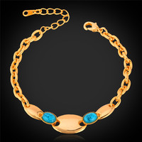 Trendy Turquoise Bracelets For Women 18K Real Gold Plated Fashion Jewelry Women Bracelets Bangle Turkey Jewelry