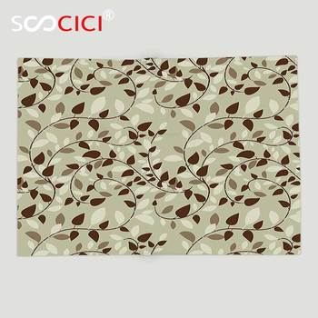 Custom Soft Fleece Throw Blanket Leaves Decor Collection Pattern with Vines Leaves Nature Curvy Branches Plants Garden Floral