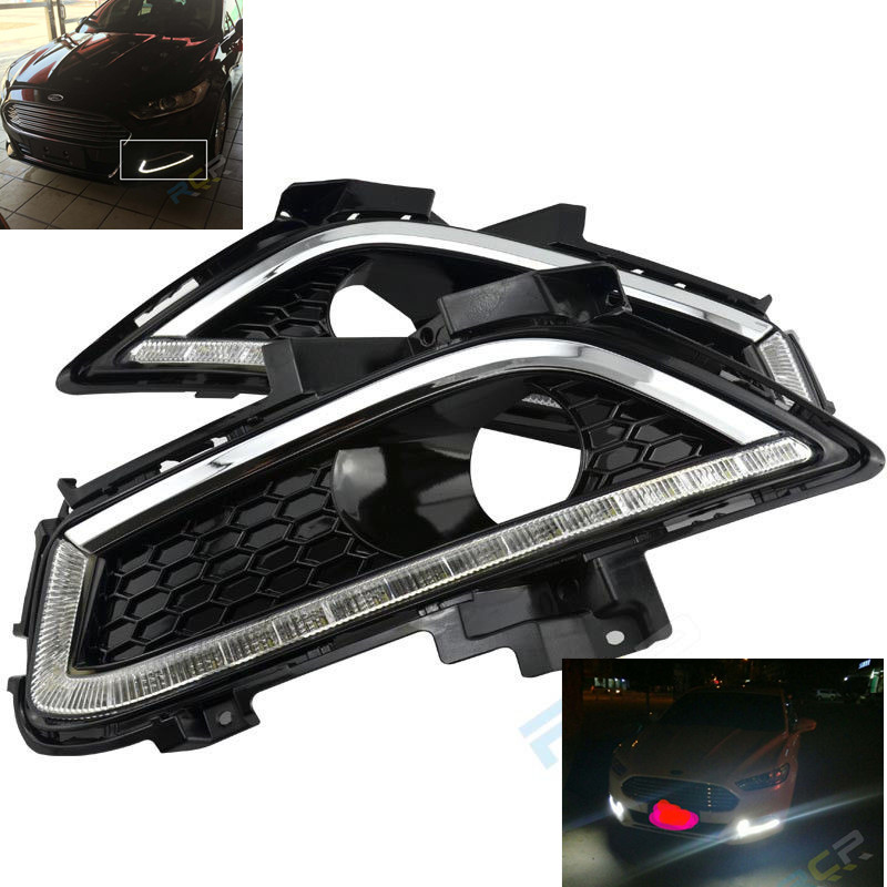 Fast Free Shipping! For 2013-up Ford Fusion 16-LED Daytime Running Lights DRL Fog Lamps Black Bezel for ford fusion 2013 16 guiding light daytime running lights drl turn signals 2x