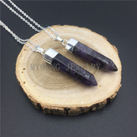 MY0829 Amethysts Spike Point Pillar Pendant Charm Necklace,Purple Crystal Silver Color Chain Necklace kolye