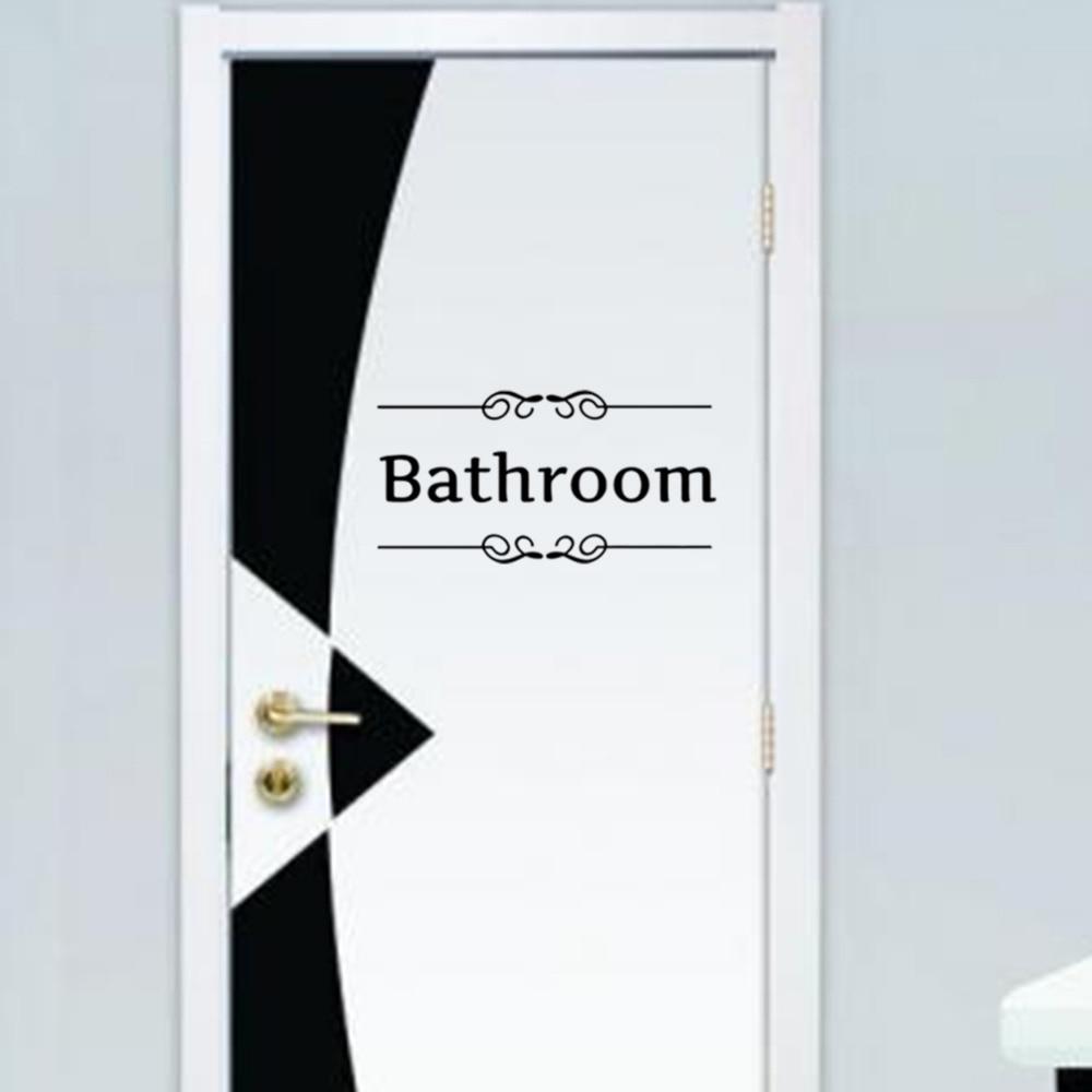 Bathroom Door Sign Black Vinyl Wall Stickers Adhesive Stickers Removable Door  Decal Toliet Wall Decals Home Decor In Wall Stickers From Home U0026 Garden On  ...
