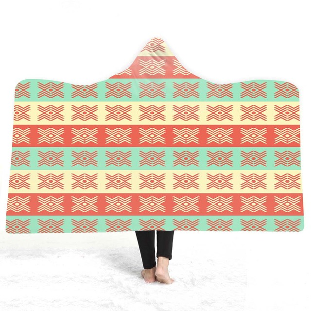 US $10 2 49% OFF|3D Geometric patterns Hooded Blanket Sherpa Fleece  Wearable plush Throw Blanket on Bed Sofa Thick warm B161-in Blankets from  Home &