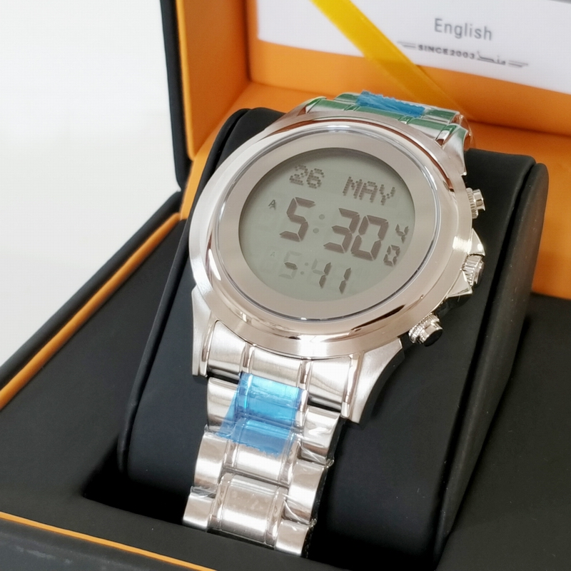 Islamic Muslim Azan Watch in English Arabic Prayer Time Clock Adhan Qiblah Wristwatch for Man and Woman Lover
