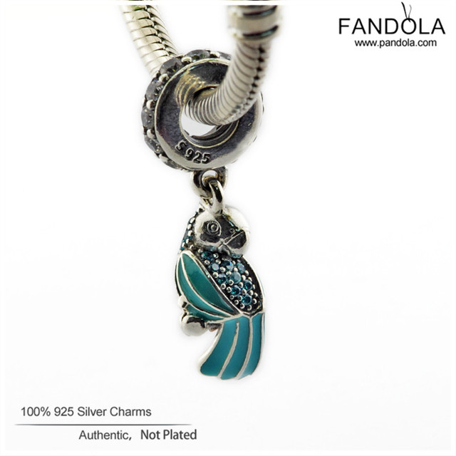 Fits Pandora Original Charms Bracelet 925 Sterling Silver Tropical Parrot Hanging Beads for Jewelry Making DIY Charm Women Gift