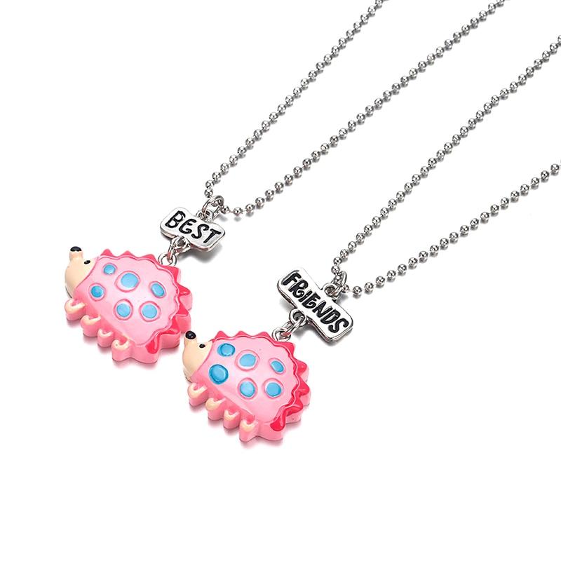 2PCS/Set Friendship Resin Cute Hedgehog Necklaces Kids BFF Necklace For Children Best Friends Jewelry