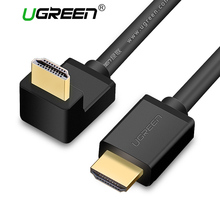 Ugreen HDMI Cable 90 Degree Angle HDMI to HDMI Cable 5m 1.5m 2m 3m HDMI 2.0 Cable 4K 3D for TV PS3 Projector Computer Cable(China)
