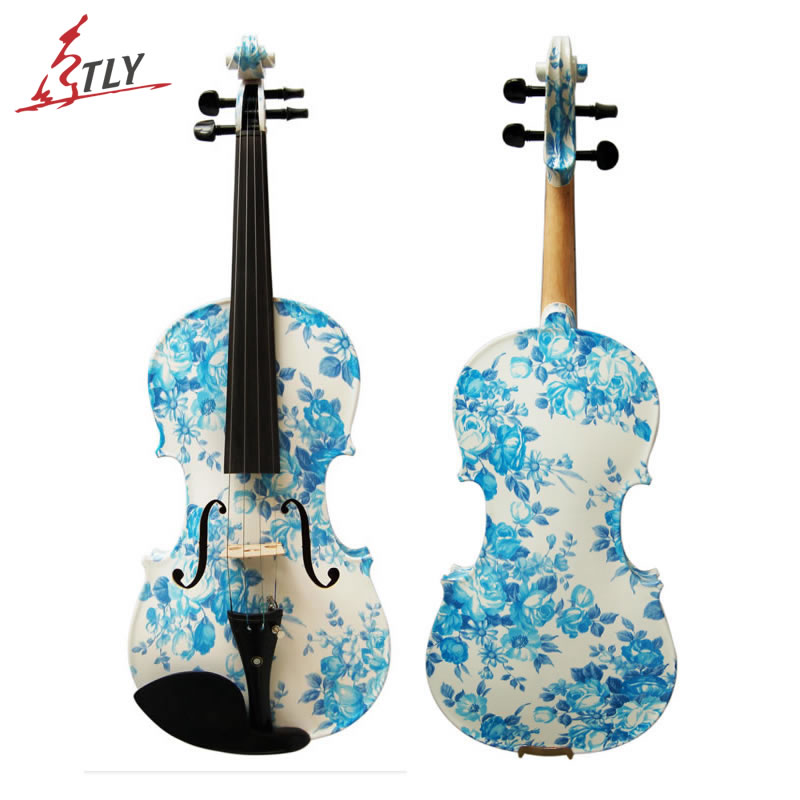 Kinglos Art Acoustic Violin 4/4 Ebony Fittings Hand Made Blue-white Porcelain Painted Maple Violin Music Instruments (YZ-1201) kinglos antique acoustic violin 4 4 beethoven carved maple art violin ebony fittings with shoulder rest case bow rosin bridge